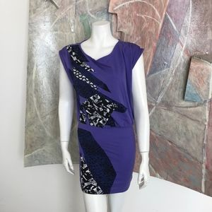 Silence + Noise Purple Short Abstract Dress SZ XS